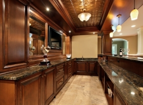 Bar in basement of luxury home