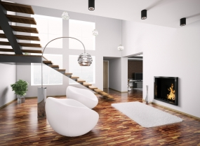 Modern interior with fireplace and staircase