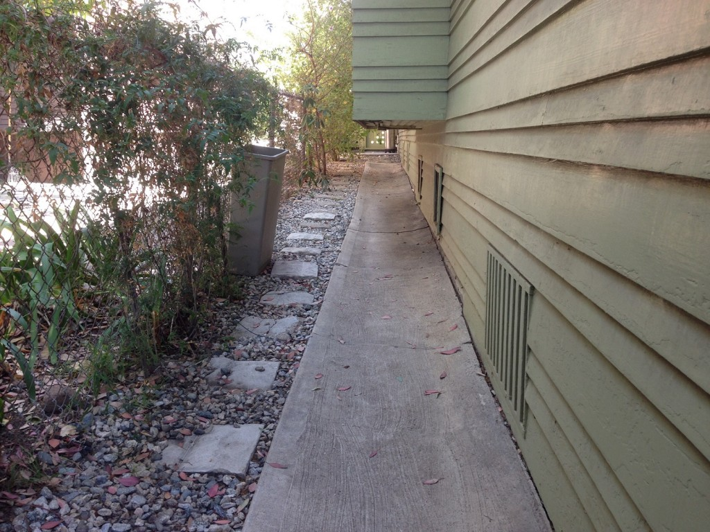 before picture of concrete pathway