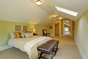 Spacious  Master Bedroom With Vaulted Ceiling And Skylight