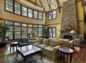 Large family room with stone fireplace
