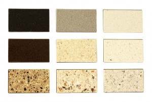 Stone samples for kitchen countertops