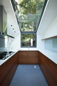 Modern empty apartment, kitchen with panoramic window
