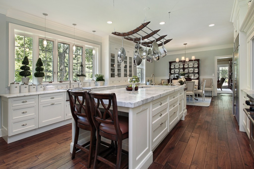 itchen in luxury home with white granite island