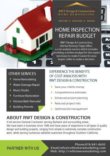 Home inspection repair budget Los Angeles , burbank